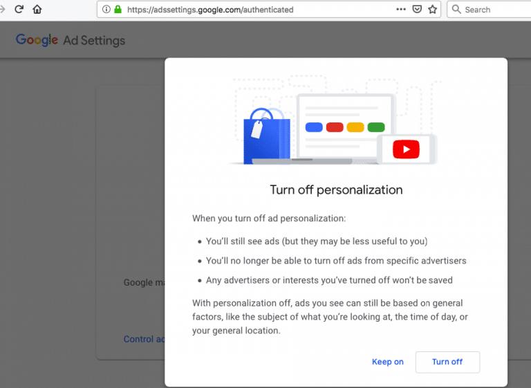 Google ad settings turn off personalization