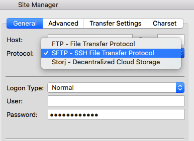 using stfp ssh in filezilla