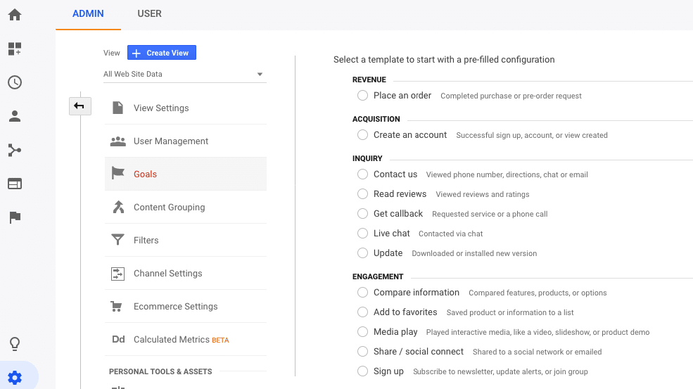 Select template for pre filled configuration google analytics